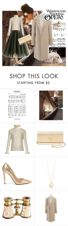 """Opera"" by maya1705 ❤ liked on Polyvore featuring Masquerade, Garnier, Shrimps, Prada, Georg Jensen, Opening Ceremony, Chanel, Lena Hoschek and Bloomingdale's"