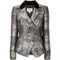 Armani Collezioni asymmetric blazer (46.665 RUB) ❤ liked on Polyvore featuring outerwear, jackets, blazers, grey, blazer jacket, metallic blazer, grey blazer jacket, grey jacket and armani collezioni