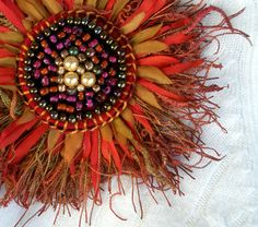 Fabric Flower, Pin/Brooch, Fringe Beads and Flower Petals, Fall Colors. .