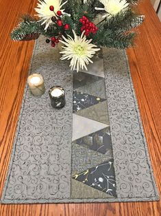 Table Runner - Triangles - Rachel Derstine Designs A dramatic table runner in shades of silver, light gray, dark gray, teal or periwinkle . A line of triangles run down one side of this all cotton, quilted table runner. Patchwork Table Runner, Table Runner And Placemats, Quilted Table Runners, Quilted Table Runner Patterns, Table Topper Patterns, Striped Table Runner, Plus Forte Table Matelassés, Table Runner Tutorial, Christmas Runner