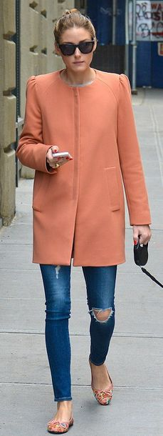 Olivia Palermo: jeans – AG Adriano  Sunglasses – Westside Leaning  Coat – Zara