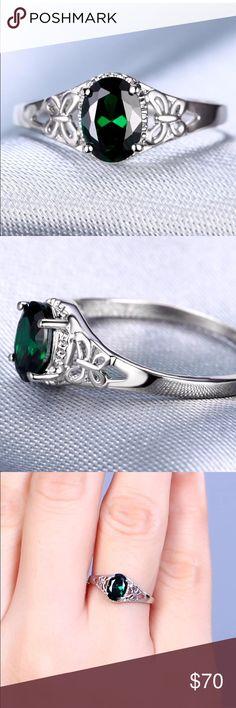 WHO SAYS DIAMONDS ARE A GIRLS BEST FRIEND? Gorgeous Natural Emerald and Solid 14k White Gold Ring with Sweet Butterflies on Either Side just to add a little FUN!!! Size 6 Jewelry Rings