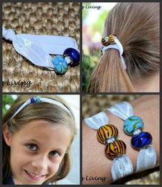 Make your own elastic hair ties and headbands with beads. Easy craft! Cute as bracelets too.
