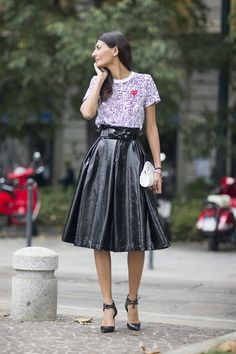 """One of the trends for this autumn/fall is vinyl believe it or not! Paired with sporty tees you can rock this all season. """"Think Prim."""" (Pinned by Amara M.)"""