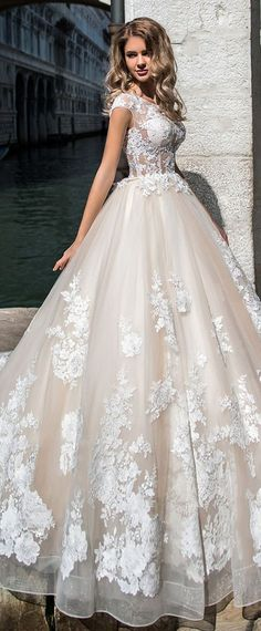 Junoesque Tulle Jewel Neckline See-through Bodice Ball Gown Wedding Dress With Beaded Lace Appliques