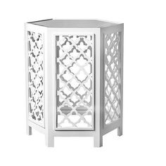 Daytona End Table White Mirrored ($180) ❤ liked on Polyvore featuring home, furniture, tables, accent tables, white, mirrored accent table, colored furniture, white lamp table, white occasional table and mirrored glass table