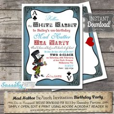 Mad Hatter Tea Party Invitation  Alice in Wonderland  by Sassaby