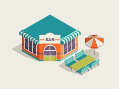 Bar designed by Paula Rusu. Connect with them on Dribbble; Isometric Map, Isometric Design, Pig Illustration, Digital Illustration, Pixel Art, Fruits Basket Cosplay, Cardboard Box Houses, Cartoon Building, Video Game Development