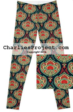 Green, red medallion leggings. Gorgeous! Just like Lularoe with the yoga waist band, buttery soft fabric, and limited prints but no searching! They are all here! And cheaper with pre-order! Charlie's Project adult and kid leggings.