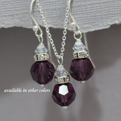 Plum Necklace, Swarovski Amethyst and Clear Crystal Jewelry Set, Bridesmaid Gift Set, Plum Jewelry Set, Maid of Honor Gift, Wedding Jewelry