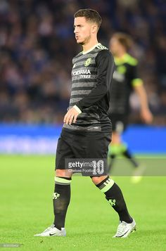 Eden Hazard of Chelsea looks on during the EFL Cup Third Round match between Leicester City and Chelsea at The King Power Stadium on September 20, 2016 in Leicester, England.