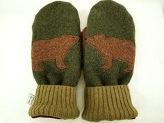 Bear Mittens Felted Wool  in Dark Green Green and by ForMyDarling