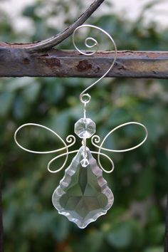 Crystal Angel Ornament Heart Ornament Scroll door KHerreraDesigns