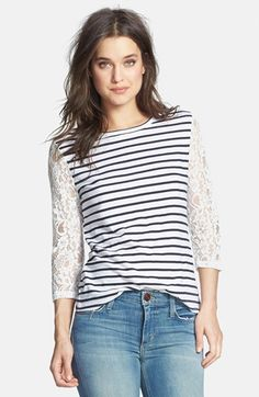 So I saw this shirt on Sunday, and I didn't buy it.  But now it's Tuesday, and I can't get it out of my head.  I'm thinking that means I should buy it.  I mean, it's lace AND stripes!