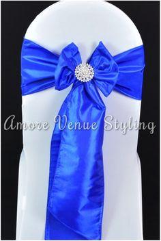 #wedding #sash #taffeta #blue #royalblue #crystal #brooch