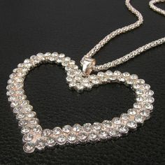 Clear Rhinestone Big Heart Pendant Necklace Alloy Chain Valentines Day Gift | eBay