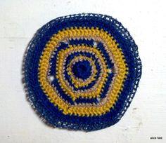 Mandala 26. Follow the Yellow Brick Road. Crochet Art Mandala in Blue and Gold and Neutral//The Mandala Project by Alice Fate www.alicefate.com/mandala-project