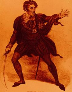 """Edmund Kean as Hamlet (Pat):"""" he was well known for his physical intensity...very popular for villainous roles and known for deep characterizations."""""""