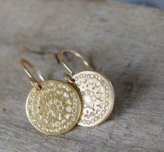 Holiday Sale  Gold Disc Earrings Gold Earrings by ravitschwartz