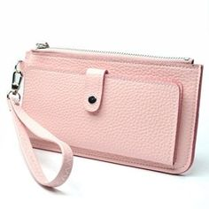 KLOUD ® Light Pink leather leechee pattern women clutch bag / wristlet wallet / purse / credit card holder case with an outer pocket plus KLOUD cleaning cloth,