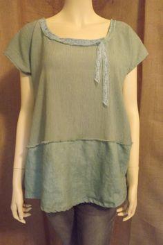 Lagenlook Linen Cotton Gauze Tunic Blouse by bluemermaiddesigns, $48.00