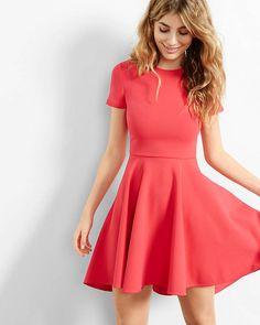 Pink Hi Lo Hem Fit And Flare Dress | Express