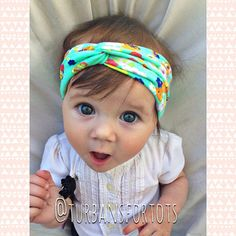 Mint floral baby turban by turbansfortots on Etsy