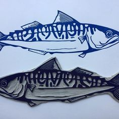 Simple but effective by Claire McKay #linocut #linoprint #printmaking #mackerel #print