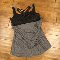 """LULULEMON """"Backless"""" Criss Cross Tank I can't possibly take pics that justify this tank. The built in Bralette has a great black crisscross back (1st photo is the back) then the grey """"body"""" has a scoop back with full flattering front coverage. Top rated seller  Fast Shipper  15% Bundle Discounts  Motivated Seller and Accepts all reasonable offers! lululemon athletica Tops Tank Tops"""