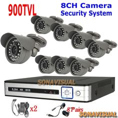 297.18$  Buy here - http://aliza3.worldwells.pw/go.php?t=32299743634 - Home Security System 8Pcs 900TVL Outdoor IR Cameras With Night Vision DVR 8 Channel Kit Camera Surveillance System Full D1 DVR