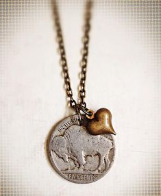 Buffalo Love <3 -  Nickel + Heart Charm Necklace by lilypickford