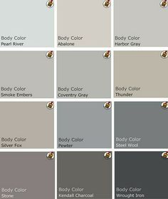 Grays, just look at them all. I have every shade of gray in my rooms of my house, some with more blue, some with more green. I use alot of silvers, turquoise, and shades of caramel as well, they work together extremely well. The moodier the walls, the more I love them!