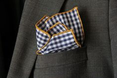 Pocket Square Navy Blue Gingham w/Mustard Gold by SirChamber, $18.00