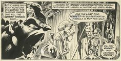Original art for Bernie Wrightson's one-page recap of Swamp Thing's origin, which appeared on the second page of Swamp Thing #2 (Jan. 1973)