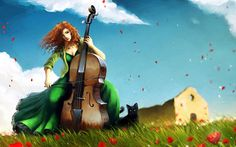 Woman playing the double bass HD wallpaper Download Wallpaper Hd, Desktop Background Images, Computer Animation, Latest Hd Wallpapers, Fantasy Girl, Cello, Cool Artwork, Traditional Art, Digital Art