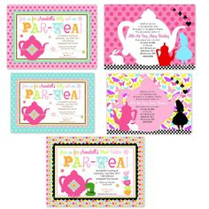 Tea Bithday Party Package Mad Hatter Alice by Dimpleprints on Etsy, $30.00