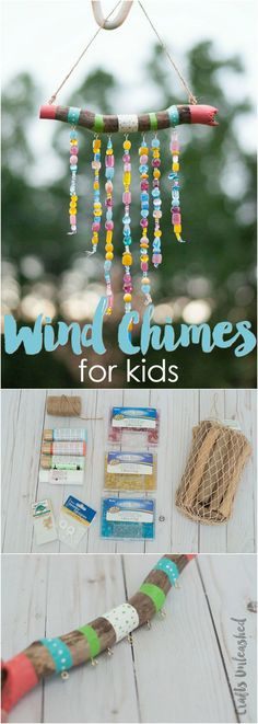 DIY Wind Chimes For Kids: Step by Step - Consumer Crafts Keep the kids busy this summer with a fun craft project. Learn how to make DIY wind chimes for kids with this step by step tutorial! Cute Diy Crafts, Kids Crafts, Summer Crafts For Kids, Diy Crafts For Kids, Bead Crafts, Projects For Kids, Craft Projects, Summer Ideas, Camping Crafts For Kids