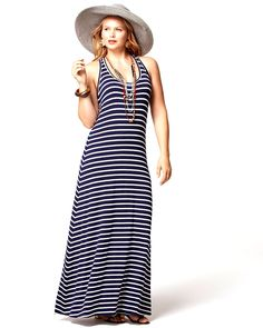 Perfect for summer! Nautical striped maxi dress, chains and a floppy sunhat.