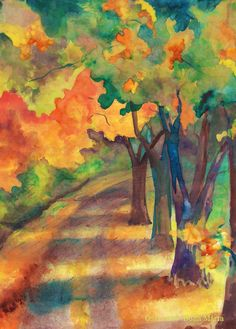 Autumn forest - Őszi erdő - Akvarell, 21 x 29 cm - By Márta Bolla - Hungary Landscape Photos, Landscape Paintings, Torn Paper, Autumn Forest, Soothing Colors, Watercolor Trees, Techno, Paper Art, Watercolours