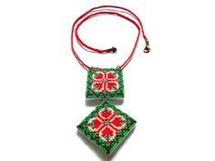Bijuteriile Elizei - bijuterii handmade: Colier cusut manual cu motiv traditional romanesc,...