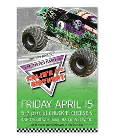 128 best monster truck party images on pinterest monster trucks 3 monster truck birthday invitation filmwisefo