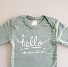 Hello I'm New Here - Funny text baby one piece (0-3 mo - newborn - mint - long sleeves)