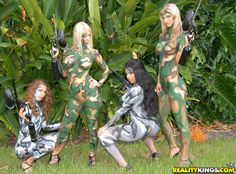 Nude paintball models