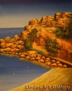 St Pauls Bay Church Lindos Oil Painting