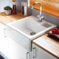 Buy Astracast Canterbury Bowl Gloss White Ceramic Kitchen Sink RHSB from Taps UK, UK's specialist kitchen sinks and taps supplier. Belfast Sink Kitchen, Kitchen Sink Taps, Kitchen Sink Design, Kitchen Shop, Kitchen And Bath, New Kitchen, Kitchen Ideas, Single Sink Kitchen, Bathroom Sinks