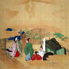 """Scene from The Tale of Genji: Chapter 4, """"Evening Face"""" (Yûgao) Tosa School Period: Edo period (1615–1868) Date: 17th century Culture: Japan Medium: Matted painting; ink and color on silk Dimensions: 8 x 8 in. (20.3 x 20.3 cm) Classification: Painting"""