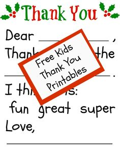 Free Children's Thank You Printable-this is awesome for younger kids that can't write a ton yet!