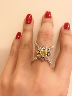 Yellow and white diamonds cross ring Diamond Rings, Diamond Jewelry, Jewelry Rings, Jewelery, Gemstone Rings, Modern Jewelry, Fine Jewelry, Faberge Eier, Victorian Engagement Rings