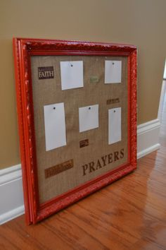 Prayer Board- painted frame with burlap over cork board Prayer Corner, Prayer Wall, Prayer Room, Prayer Board, My Prayer, Sunday School Rooms, Craft Projects, Projects To Try, Prayer Closet
