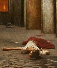 """Murder in the House"" (details), Jakub Schikaneder. (original painting here) Mode Poster, Classic Paintings, Creepy Art, Victorian Art, Classical Art, Renaissance Art, Old Art, Art Plastique, Aesthetic Art"